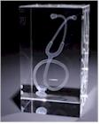 Stethoscoop in glazen blok