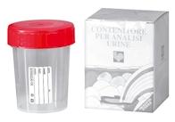 Urinebeker met schroefdeksel in discrete patiënten verpakking